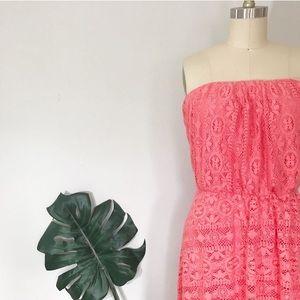 AUW • Strapless Knit Design Coral Dress
